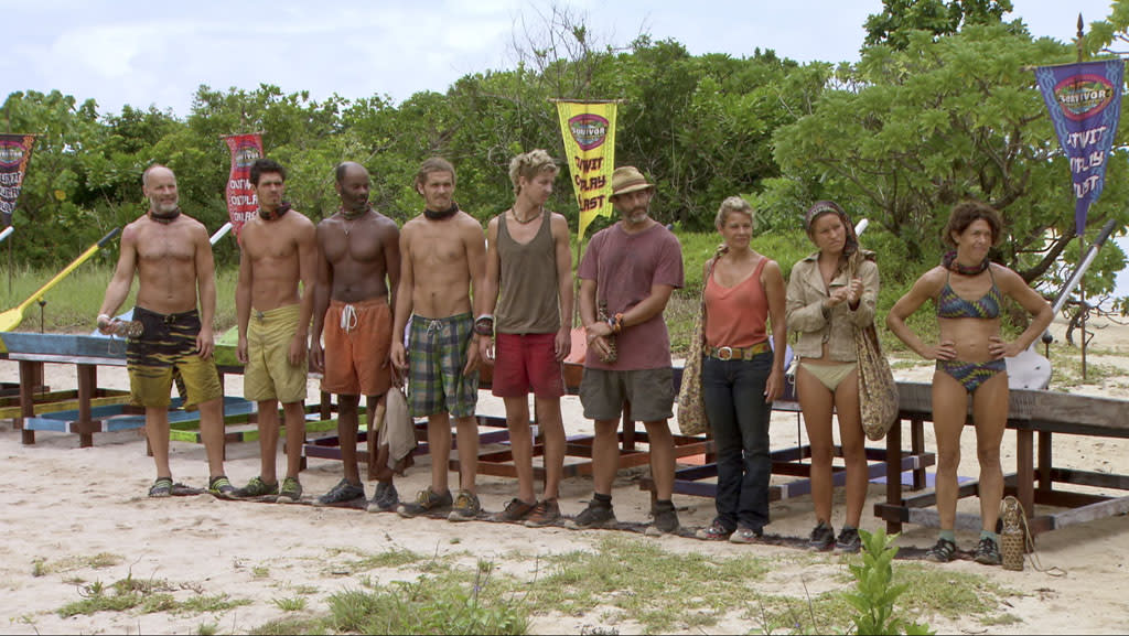 "Michael Skupin, Peter ""Pete"" Yurkowski, Artis Silvester, Malcolm Freberg, Carter Williams, Jonathan Penner, Lisa Whelchel, Abi-Maria Gomes and Denise Stapley line up before the Immunity Challenge in the ""Survivor: Philippines"" episode, ""Little Miss Perfect."""
