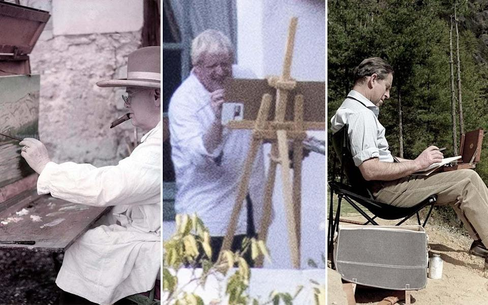 Easel does it: Boris is the latest 'Brit abroad' to be captivated by paintbrush and paints