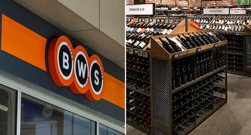 (left) Stock photo of BWS sign Source: AAP (right) A photo of the wine section at a Dan Murphy's bottle shop. Source: Facebook