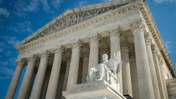 PHOTO: The Guardian or Authority of Law, created by sculptor James Earle Fraser, sits on the side of the U.S. Supreme Court on Sept. 28, 2020 in Washington, D.C. (Al Drago/Getty Images, FILE)