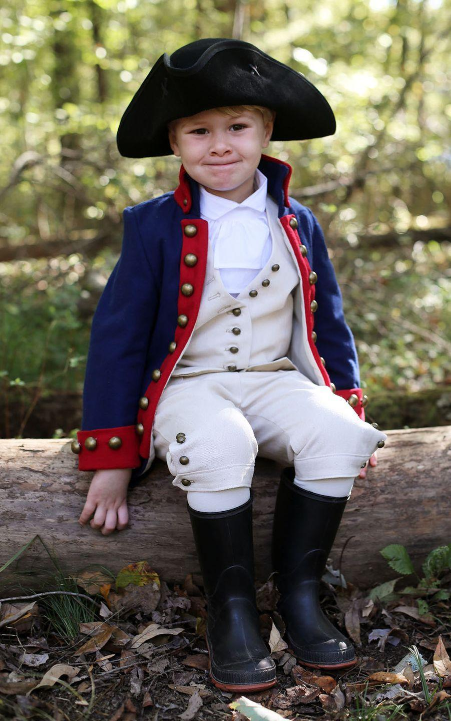 """<p>What's his name? Alexander Hamilton, thanks to this DIY ensemble from style blogger, author and history buff <a href=""""https://www.instagram.com/jessicajquirk/"""" rel=""""nofollow noopener"""" target=""""_blank"""" data-ylk=""""slk:Jessica Quirk"""" class=""""link rapid-noclick-resp"""">Jessica Quirk</a>. Pairing exquisite details such as real metal buttons with everyday staples —like her son's black rain boots — she put together an adorable look.</p><p><a class=""""link rapid-noclick-resp"""" href=""""https://www.amazon.com/Kangaroo-Revolutionary-Deluxe-Colonial-Tricorn/dp/B011WSFIN2/ref=sr_1_6?crid=1O41RFB6NP61C&dchild=1&keywords=tricorn+hat&qid=1598658155&sprefix=tricorn%2Caps%2C167&sr=8-6&tag=syn-yahoo-20&ascsubtag=%5Bartid%7C10055.g.33836165%5Bsrc%7Cyahoo-us"""" rel=""""nofollow noopener"""" target=""""_blank"""" data-ylk=""""slk:SHOP TRICORN HAT"""">SHOP TRICORN HAT</a></p><p><em><a href=""""https://www.starsandfield.com/weblog/2018/10/28/time-traveling-lil-alexander-hamilton"""" rel=""""nofollow noopener"""" target=""""_blank"""" data-ylk=""""slk:See more at Stars + Field »"""" class=""""link rapid-noclick-resp"""">See more at Stars + Field »</a></em></p>"""