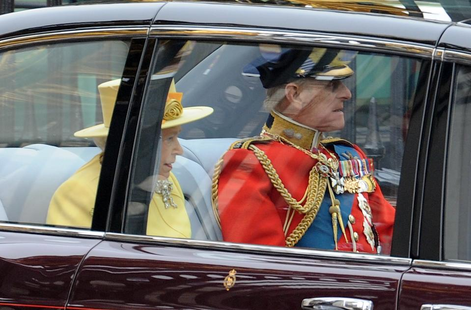 HRH Queen Elizabeth II and HRH Prince Philip, Duke of Edimburgh, leaving Buckingham Palace to Westminder Abbey for the Royal Wedding of Prince William and Kate Middleton, in London. (Photo by Stephane Cardinale/Corbis via Getty Images)