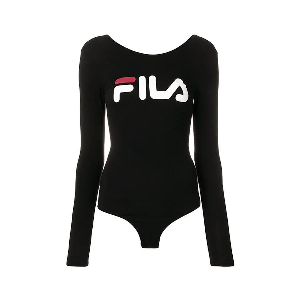 """<p>This <a href=""""https://www.self.com/gallery/best-bodysuits-to-work-out-in?mbid=synd_yahoo_rss"""">bodysuit</a> is an easy post-workout piece that you can easily wear with a pair of jeans when you're not sweating in it.</p> <p><strong>Buy it:</strong> $38 (originally $53), <a href=""""https://www.farfetch.com/shopping/women/fila-logo-print-bodysuit-item-13605550.aspx?storeid=9681"""" rel=""""nofollow"""">farfetch.com</a></p>"""