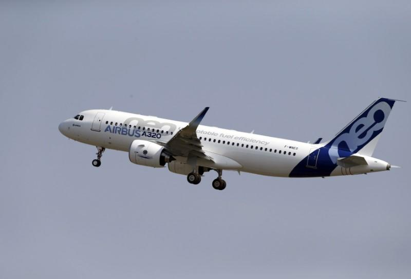 The Airbus A320neo takes off during its first flight event in Colomiers near Toulouse, southwestern France