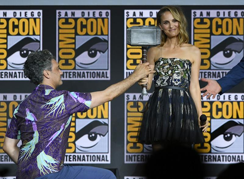 Taika Waititi and Natalie Portman at the Marvel Studios Panel during 2019 Comic-Con International. (Photo by Kevin Winter/Getty Images)