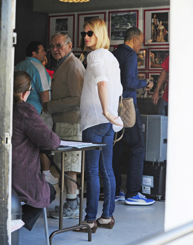 January Jones was spotted arriving at a polling place in Studio City, CA to vote.  Pictured: January Jones  Ref: SPL453286  061112  Picture by: EM43 / Splash News   Splash News and Pictures Los Angeles:310-821-2666 New York:212-619-2666 London:870-934-2666 photodesk@splashnews.com