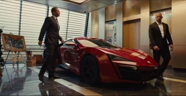 Walker and Diesel in a scene checking out the Lykan Hypersport