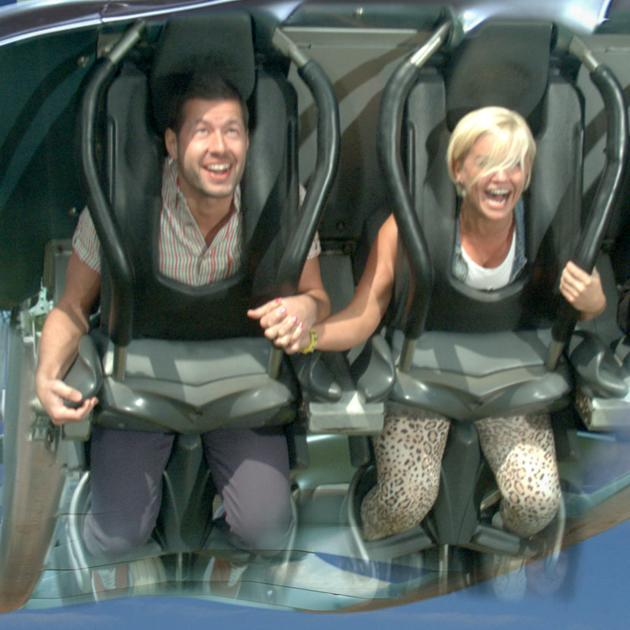 Celebrity couples: Kerry Katona held on tight to new boyfriend Steve Alce. They looked loved up at the launch of Alton Towers Resort's new 2012 attractions, Nemesis Sub-Terra and Ice Age: The 4D Experience.
