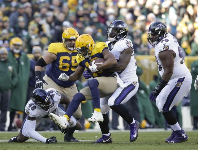 <p>Green Bay Packers quarterback Brett Hundley is sacked by Baltimore Ravens' Matt Judon during the first half of an NFL football game Sunday, Nov. 19, 2017, in Green Bay, Wis. (AP Photo/Jeffrey Phelps) </p>