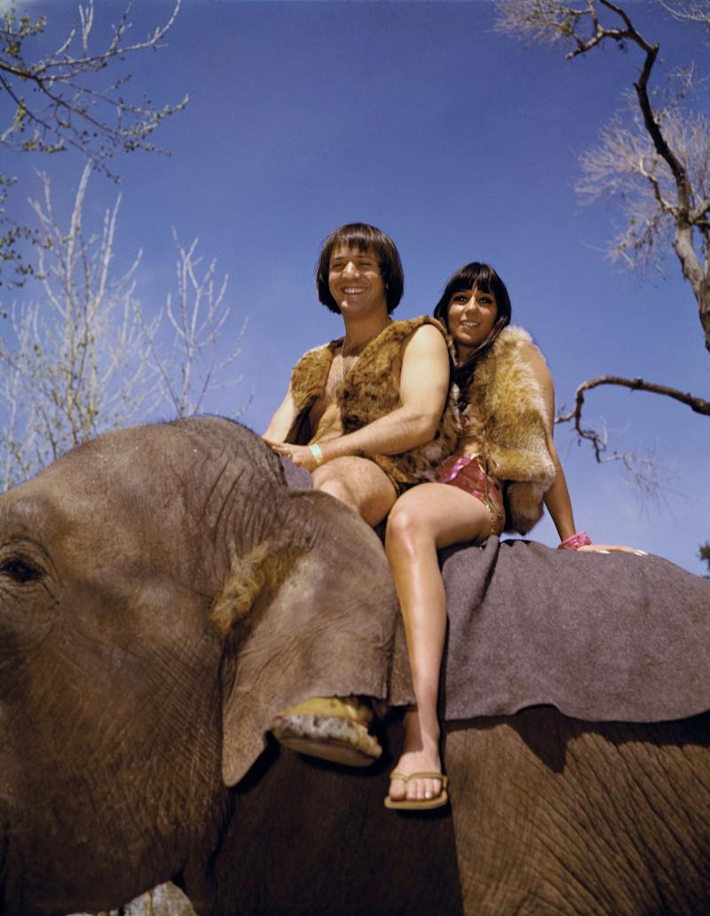 (Original Caption) Sonny and Cher, top pop singing team, make their movie debut in Motion Pictures International National's Production of Bang Bang which rolls Monday March 28 at Paramount studios. For one sequence in the comedy, Sonny and Cher do a take off on Tarzan and Jane.