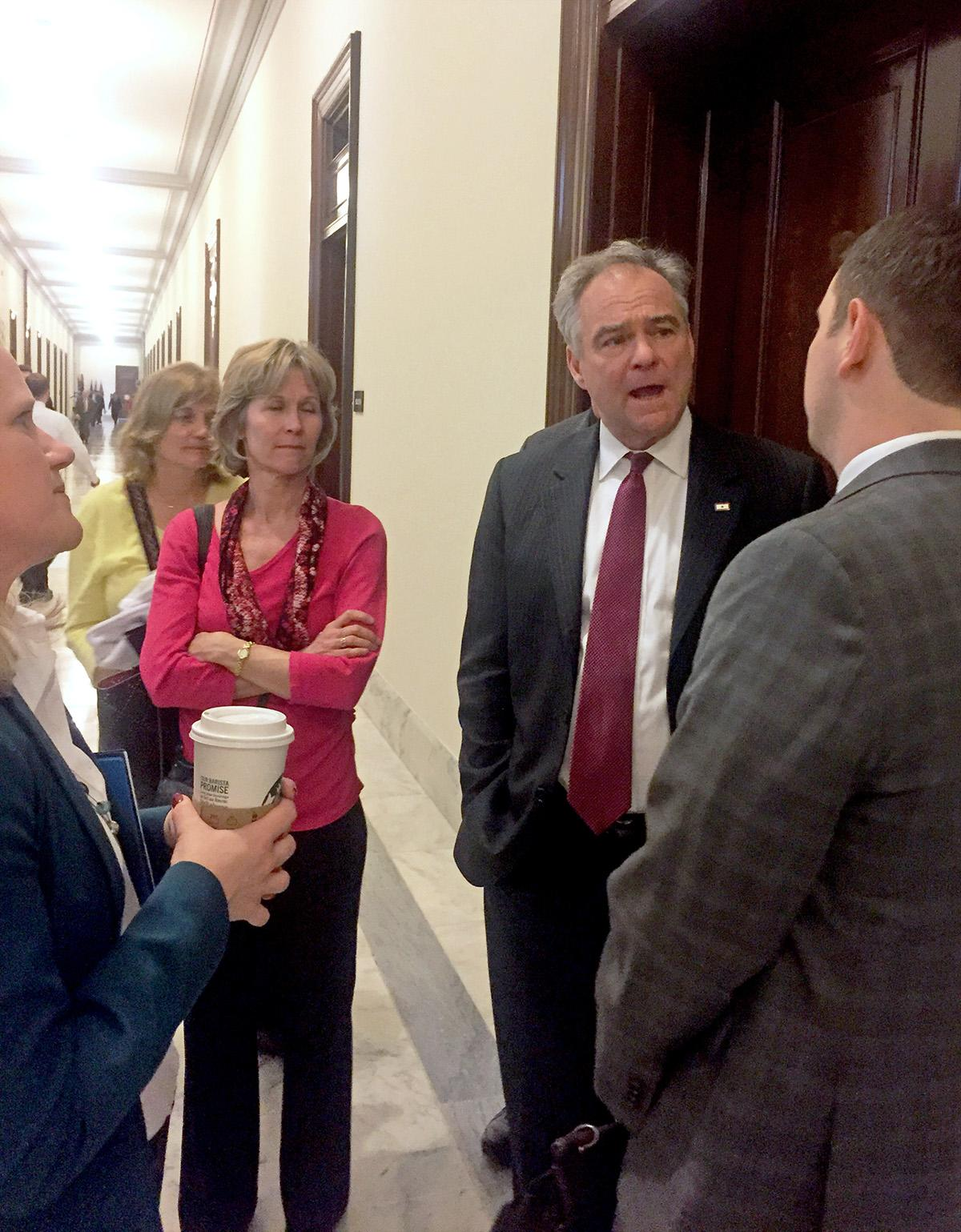 During their visit to Capitol Hill, the Holy Trinity parishioners encountered Sen. Tim Kaine