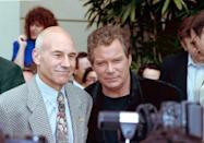 """Co-stars Patrick Stewart, left, and William Shatner are shown at the Paramount Pictures 25th anniversary celebration of the sci-fi television show """"Star Trek"""" in Los Angeles, Ca., June 6, 1991. The event also marks the official presentation of Paramount's newest office building, named after the series' creator Gene Roddenberry. (AP Photo/Julie Markes)"""