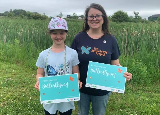 Jennifer Bryson with her daughter, Presley, who is also involved in The Butterflyway Project. (Laura Chapin/CBC - image credit)