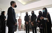 US Secretary of State Antony Blinken meets with Afghan all-female robotics team members at Qatar's Education City Club House in Doha (AFP/Olivier DOULIERY)