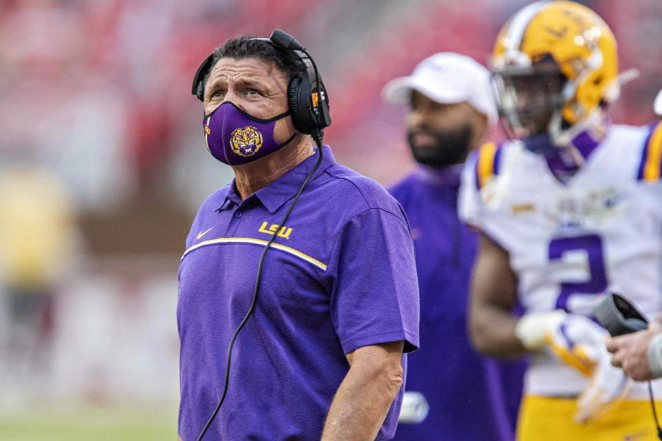 LSU coach Ed Orgeron looks on during a game against Arkansas on Nov. 21. (Wesley Hitt/Getty Images)