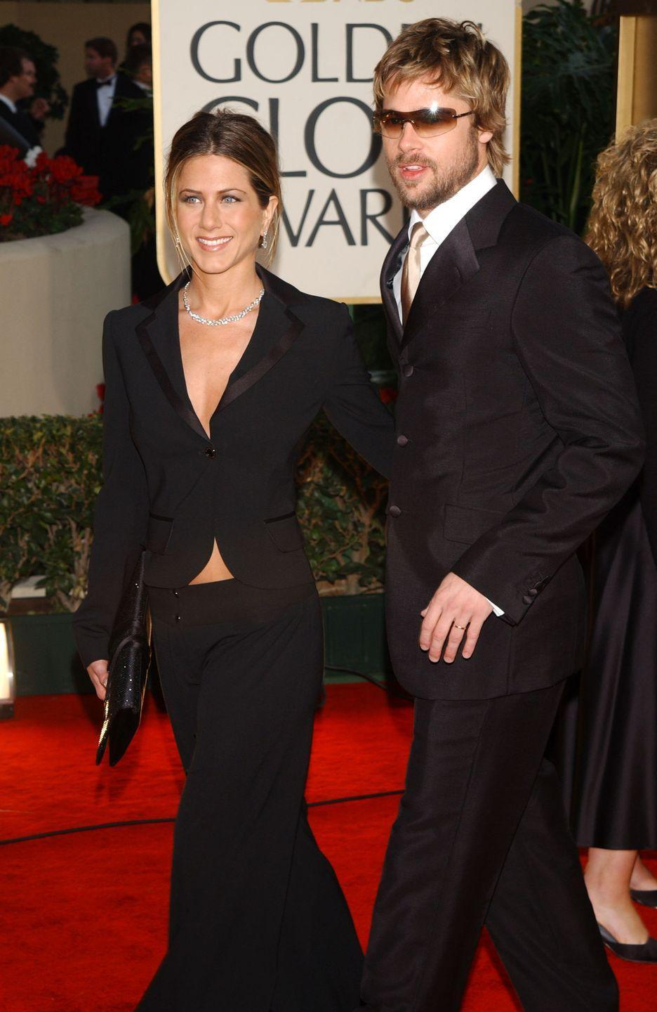 <p>Pitt and Aniston attend the Golden Globes, where both she and <em>Friends</em> are nominated. Neither wins, but they matched outfits, so there's that. </p>