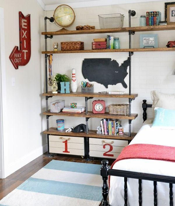"""<p>Re-create this all-American boy's bedroom by decking out industrial shelves with vintage decor and wooden crates for toy storage.</p><p><strong>See more at <a href=""""https://www.beneathmyheart.net/2014/02/industrial-shelves-boys-room/"""" rel=""""nofollow noopener"""" target=""""_blank"""" data-ylk=""""slk:Beneath My Heart"""" class=""""link rapid-noclick-resp"""">Beneath My Heart</a>.</strong></p><p><strong><strong><a class=""""link rapid-noclick-resp"""" href=""""https://www.amazon.com/Luxury-Little-Nursery-Storage-Basket/dp/B07NY9FL2H?tag=syn-yahoo-20&ascsubtag=%5Bartid%7C10063.g.36014277%5Bsrc%7Cyahoo-us"""" rel=""""nofollow noopener"""" target=""""_blank"""" data-ylk=""""slk:SHOP STORAGE BASKETS"""">SHOP STORAGE BASKETS</a></strong><br></strong></p>"""