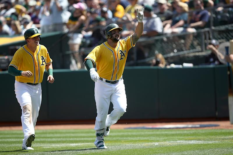 Yonder Alonso is slugging homers like never before this season. (AP)