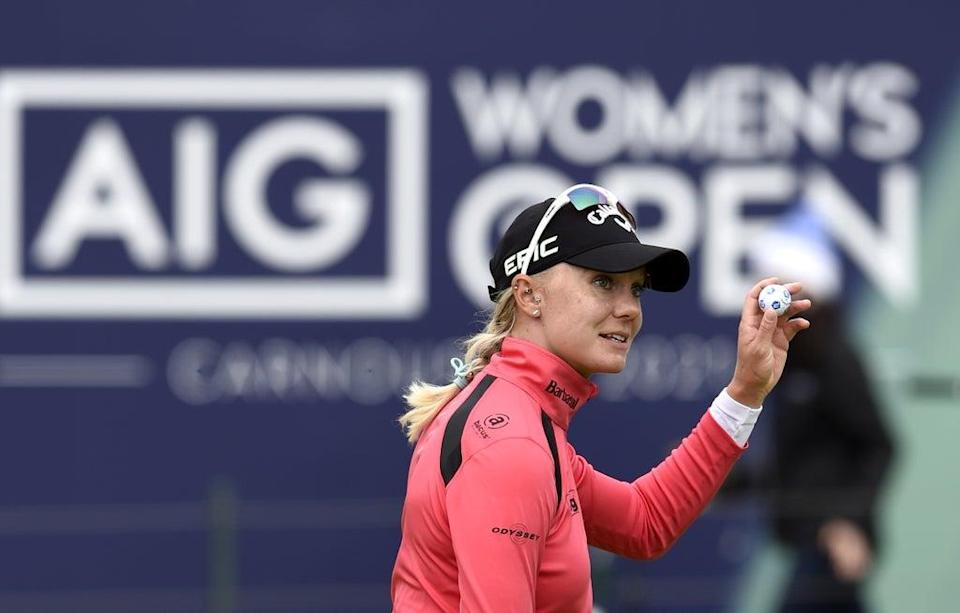 Sweden's Madelene Sagstrom reacts on the 18th during day one of the AIG Women's Open at Carnoustie (Ian Rutherford/PA) (PA Wire)