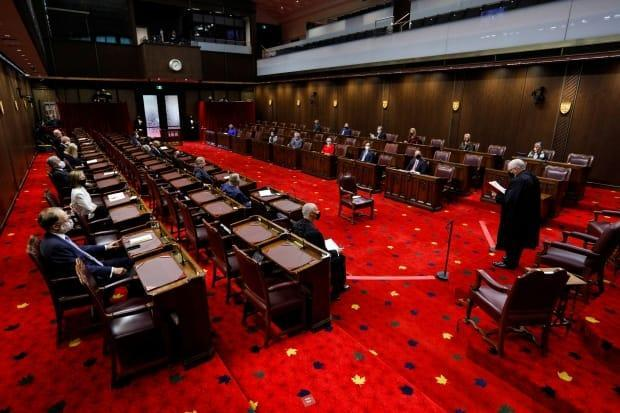 The Senate chamber in Ottawa pictured here on Sept. 23, 2020.   (Blair Gable/Reuters - image credit)