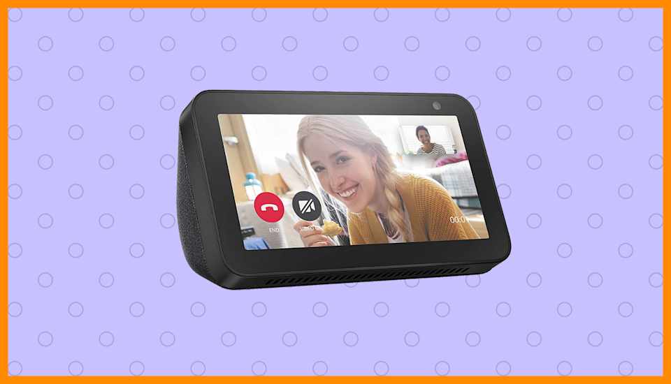 Echo Show 5 on purple background. (Photo: Amazon)