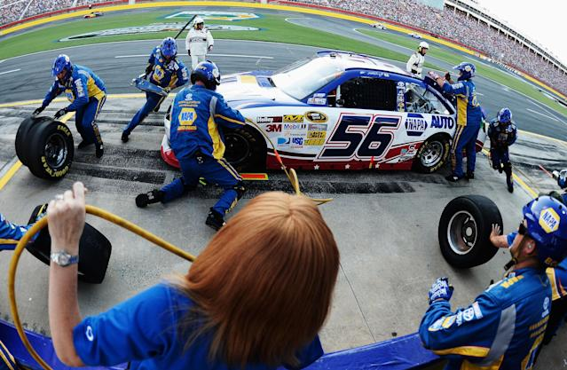 CONCORD, NC - MAY 27: Martin Truex Jr., driver of the #56 NAPA Auto Parts Toyota, pits during the NASCAR Sprint Cup Series Coca-Cola 600 at Charlotte Motor Speedway on May 27, 2012 in Concord, North Carolina. (Photo by Jared C. Tilton/Getty Images for NASCAR)