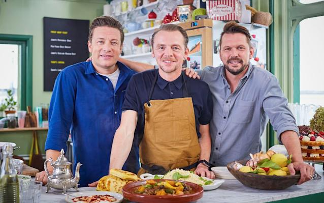 """Friday 24 November Jamie and Jimmy's Friday Night Feast Channel 4, 8.00pm Jamie Oliver and childhood mucker Jimmy Doherty return for another series of their hyperactive meld of cookery programme, food information and celebrity chat hosted at their Southend Pier caff. This series tends to stand or fall with the visiting celebrity but luckily this week it's Simon Pegg, who gamely enters into the spirit of things by serving customers, cooking what looks like a pretty good tagine and admitting that he's far more food conscious in these Mission: Impossible days (Tom Cruise is apparently the devil for pushing cakes on those trying to stay in shape). Friday Night Feast feels closer in tone to the early cookery shows that made Oliver's name and Pegg enters into the cheeky-chappy spirit, mucking around with Doherty and dropping sardonic asides. """"It's fundamentally evil but at the same time beautiful,"""" he remarks of Oliver's Provençal Bake, a calorific but clearly delicious mixture of pancakes, cheese, ham and tomatoes, which causes one customer to gush, """"I never want it to end."""" Elsewhere, Oliver and Doherty go on the road to uncover the joys of free-range duck, and Doherty builds a barbecue for the Stoke Mandeville wheelchair rugby team. Sarah Hughes Sounds Like Friday Night BBC One, 7.30pm BBC One's live music show is a great idea but so far has been a bit hit and miss. Presenters Greg James and Dotty are enthusiastic but more risks are needed when booking the live acts. Craig David co-hosts this episode, and there are performances from The Killers and Anne-Marie. Australian Wilderness with Ray Mears ITV, 8.00pm; not STV, UTV or Wales Ray Mears's laid-back excursion around Australia continues in South Australia's Flinders mountain ranges, which provides a dramatic setting for three species of kangaroos and the country's largest bird of prey. Have I Got News for You BBC One, 9.00pm The personable Stephen Mangan takes the host's chair for this episode of the satirical news-b"""