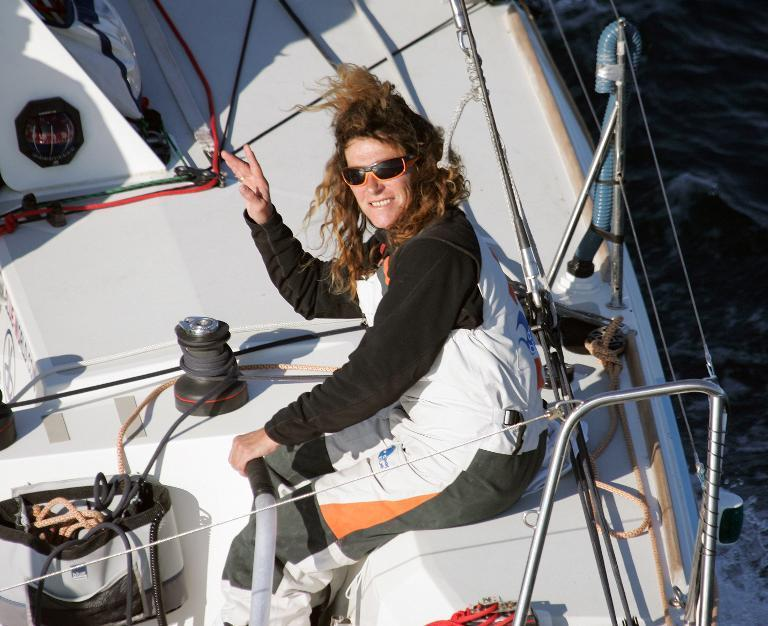 """French skipper Florence Arthaud aboard the monohull """"Deep Blue"""" during a training session off Ouessant Island (Brittany), in France, October 23, 2007"""