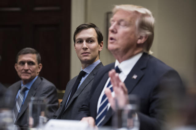 From left, Michael Flynn, national security adviser, and Jared Kushner, senior adviser to President Trump, listen to President Trump at a session in the White House with cybersecurity experts on Tuesday, Jan. 31, 2017. (Photo: Jabin Botsford/The Washington Post via Getty Images)