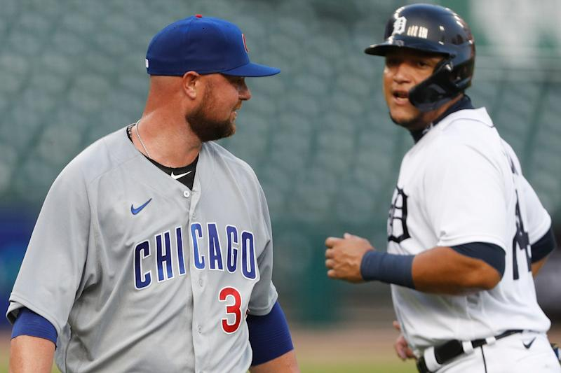 Cubs pitcher Jon Lester looks back at Tigers designated hitter Miguel Cabrera during the first inning on Wednesday, Aug. 26, 2020, at Comerica Park.