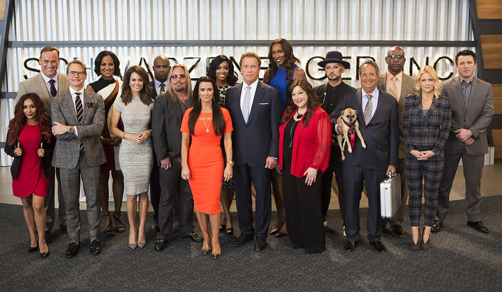 """<p><b>This Season's Theme:</b> """"Chaos!"""" says contestant Kyle Richards (<i>Real Housewives of Beverly Hills</i>). <br /><br /><b>Coming Up: </b> Arnold Schwarzenegger steps in as host for a revamped season that will focus more on technology-driven projects. A rotating group of boardroom advisors includes Tyra Banks, Jessica Alba, Warren Buffet, Steve Ballmer, and Arnold's nephew, Patrick Knapp Schwarzenegger. As for the boardroom catchphrase, you'll have to tune in to see how Arnold will bid adieu to his ousted employees. Says Richards, """"That was a big topic among the cast: 'What's he gonna say, what's he gonna say?'"""" <br /><br /><b>Big Personalities, Big Fights: </b> The workplace drama will be dialed up with a cast that includes Boy George, Laila Ali, Jon Lovitz, Snooki, Vince Neil, <i>Real Housewives of Atlanta</i> star Porsha Williams, and more. """"You'll definitely see <i>Real Housewives</i> drama, but that doesn't necessarily mean it's between the two Housewives,"""" Richards teases. <i>— Victoria Leigh Miller</i> <br /><br />(Credit: Luis Trinh/NBC) </p>"""