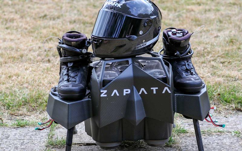 The jet-powered hover-board used by French inventor Franky Zapata to cross the English Channel to Dover.   Steve Parsons - PA Images/Getty Images