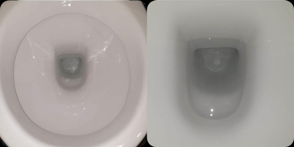 Same bowls from image above. (Left) Round toilet bowl white and clean, (right) rectangular toilet bowl white and clean.