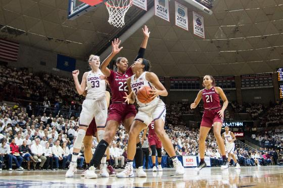 UConn Huskies Forward Napheesa Collier (24) under the rim during the first half of a women's division 1 basketball game between 6th ranked University of South Carolina and the #1 UConn Huskies on February 13, 2017, at the Harry A. Gampel Pavilion in Storrs, CT.