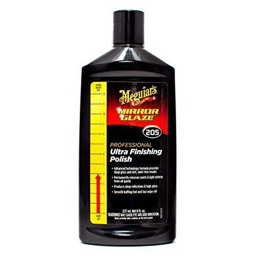 """<p><strong>Meguiar's</strong></p><p>amazon.com</p><p><strong>$9.20</strong></p><p><a href=""""https://www.amazon.com/dp/B003LMJP4Q?tag=syn-yahoo-20&ascsubtag=%5Bartid%7C10060.g.36996580%5Bsrc%7Cyahoo-us"""" rel=""""nofollow noopener"""" target=""""_blank"""" data-ylk=""""slk:Shop Now"""" class=""""link rapid-noclick-resp"""">Shop Now</a></p><p>This Meguiar's finishing polish is a smooth liquid best suited for light paint correction, but can also preempted by a coarse <a href=""""https://www.amazon.com/Meguiars-Mirror-Glaze-Ultra-Cut-Compound/dp/B003LMGDHI/ref=pd_lpo_263_t_0/138-8815742-6190662?_encoding=UTF8&pd_rd_i=B003LMGDHI&pd_rd_r=21a7a513-e17e-4983-8d42-77792472d1cd&pd_rd_w=nkIVa&pd_rd_wg=aL8G5&pf_rd_p=612aaa6d-f1ab-431a-a681-b5ed7cca2e52&pf_rd_r=21W4T153RPGFXS4EC70E&psc=1&refRID=21W4T153RPGFXS4EC70E&tag=syn-yahoo-20&ascsubtag=%5Bartid%7C10060.g.36996580%5Bsrc%7Cyahoo-us"""" rel=""""nofollow noopener"""" target=""""_blank"""" data-ylk=""""slk:Ultra-Cut Compound"""" class=""""link rapid-noclick-resp"""">Ultra-Cut Compound</a> for tougher jobs. Anti-drying ingredients also stop from gumming up on the paint surface before application is finished. The scratch remover is easily distributed by circular hand motions, or by electric buffer. </p><p>Meguiar's recommends setting your tool to around 1,500 RPM, or 4,800 OPM in this case of an orbital polisher. After correction, excess polish should be wiped away with a clean towel, and a sealant will have to be applied separately.</p>"""