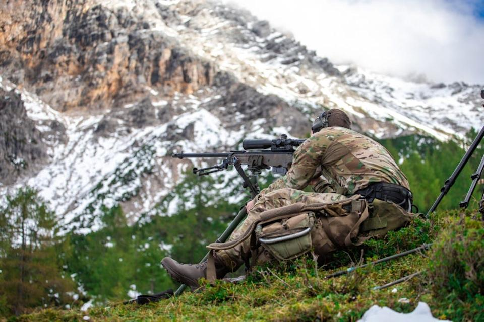 A Dutch Special Forces Sniper takes aim at targets down rage
