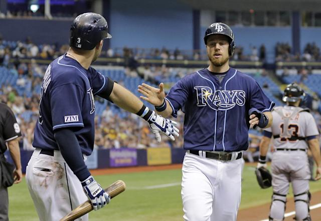 Tampa Bay Rays' Ben Zobrist, right, celebrates with on-deck batter Evan Longoria after scoring on a triple by Brandon Guyer off Detroit Tigers starting pitcher David Price during the first inning of a baseball game Thursday, Aug. 21, 2014, in St. Petersburg, Fla. (AP Photo/Chris O'Meara)