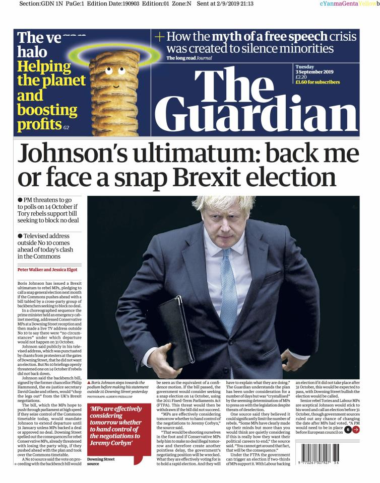 "The Guardian describes it as ""Johnson's ultimatum"" as the prime minister threatens to call a general election if a no-deal Brexit is blocked."