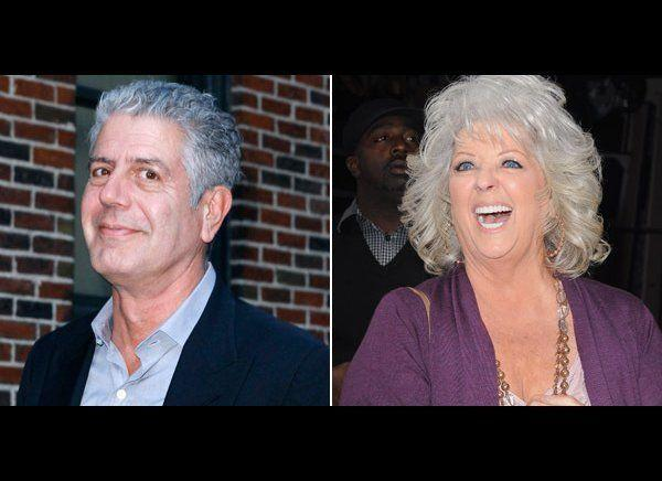 "Celebrity chef Anthony Bourdain is not a fan of Paula Deen's cooking. In 2011 he told <em>TV Guide</em> she was ""the worst, most dangerous person to America."" Deen responded, claiming, ""You know, not everybody can afford to pay $58 for prime rib or $650 for a bottle of wine. My friends and I cook for regular families who worry about feeding their kids and paying the bills . . . It wasn't that long ago that I was struggling to feed my family, too."" Months later, after Deen announced she has Type 2 diabetes and was now a paid spokeswoman for a diabetes medication, Bourdain <a href=""http://www.people.com/people/article/0,,20562258,00.html"" target=""_hplink"">responded with a thinly veiled tweet</a>: ""Thinking of getting into the leg-breaking business, so I can profitably sell crutches later."" Deen fired back that Bourdain should ""get a life""."