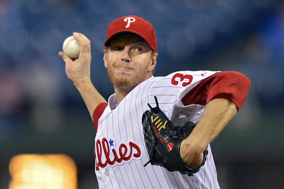 One of Roy Halladay's most memorable performances was a no-hitter in the playoffs as the Philadelphia Phillies' ace. (Getty Images)