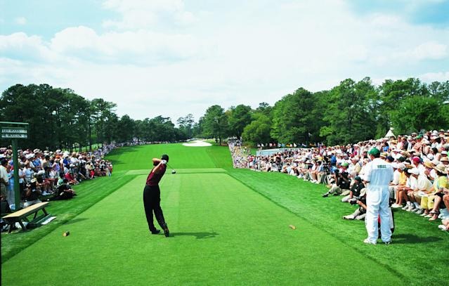 "<div class=""caption""> Tiger Woods tees off in the final round of the 2001 Masters. Photo: Dom Furore </div> <cite class=""credit"">Dom Furore/Golf Digest, Golf World</cite>"