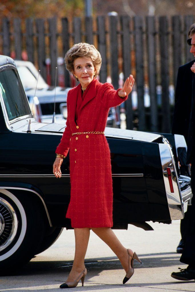 "<p>The former film actress knew how to dress, but most importantly: accessorize. I mean, the gold chain belt? Come on! Nancy Reagan reportedly wore this crimson red color so much that it eventually <a href=""https://style.time.com/2013/02/18/our-fair-ladies-the-14-most-fashionable-first-ladies/slide/nancy-reagan/"" rel=""nofollow noopener"" target=""_blank"" data-ylk=""slk:became known"" class=""link rapid-noclick-resp"">became known</a> as ""Reagan red"" among the press. </p>"