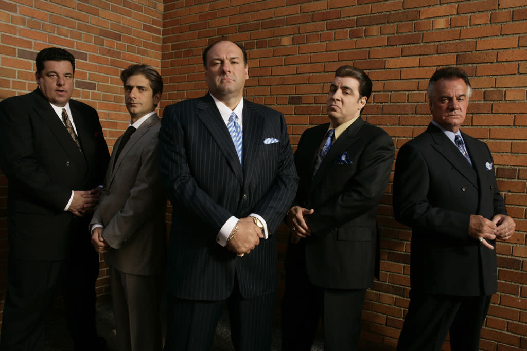 "Steven R. Schirripa, Michael Imperioli, James Gandolfini, Steven Van Zandt, and Tony Sirico in HBO's ""The Sopranos."""