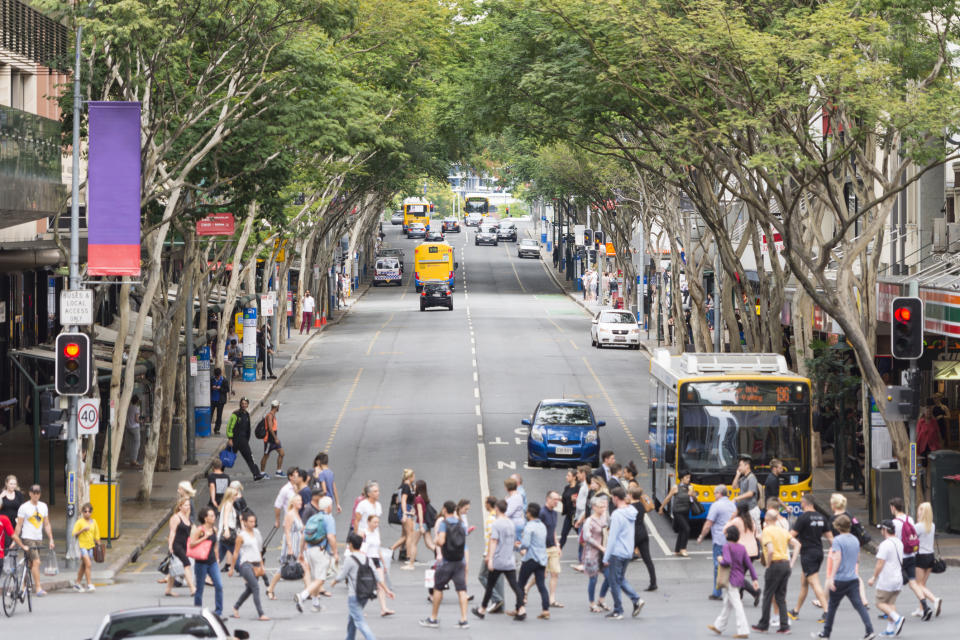 Color image of the prominent Edward Street in Brisbane. Image: Getty