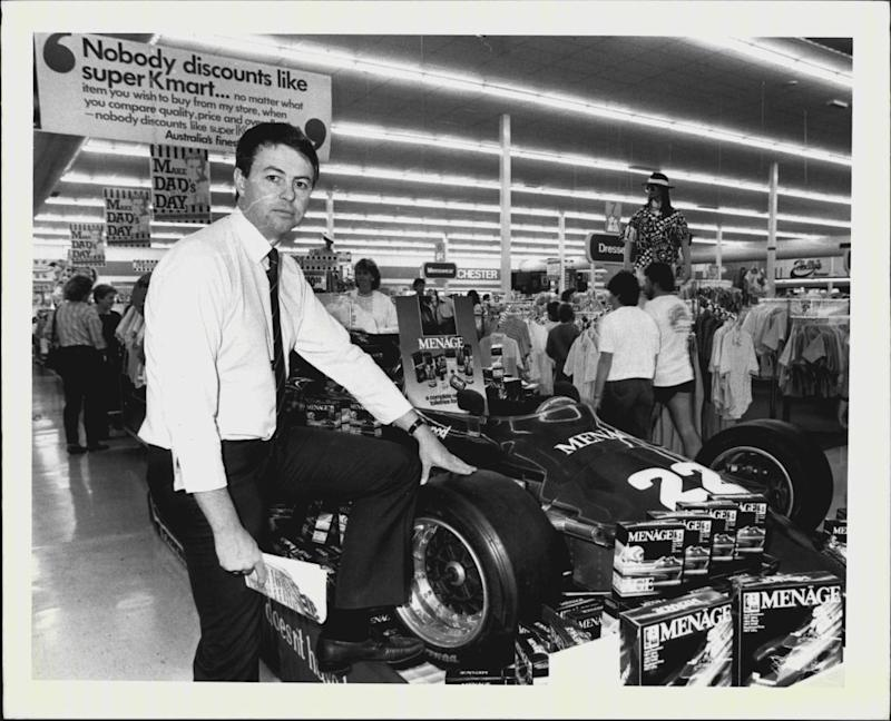 Kmart store manager Errol Croan poses in a Penrith, NSW store in 1986.