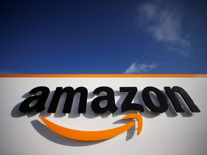 FILE PHOTO: The logo of Amazon is seen at the company logistics centre in Boves