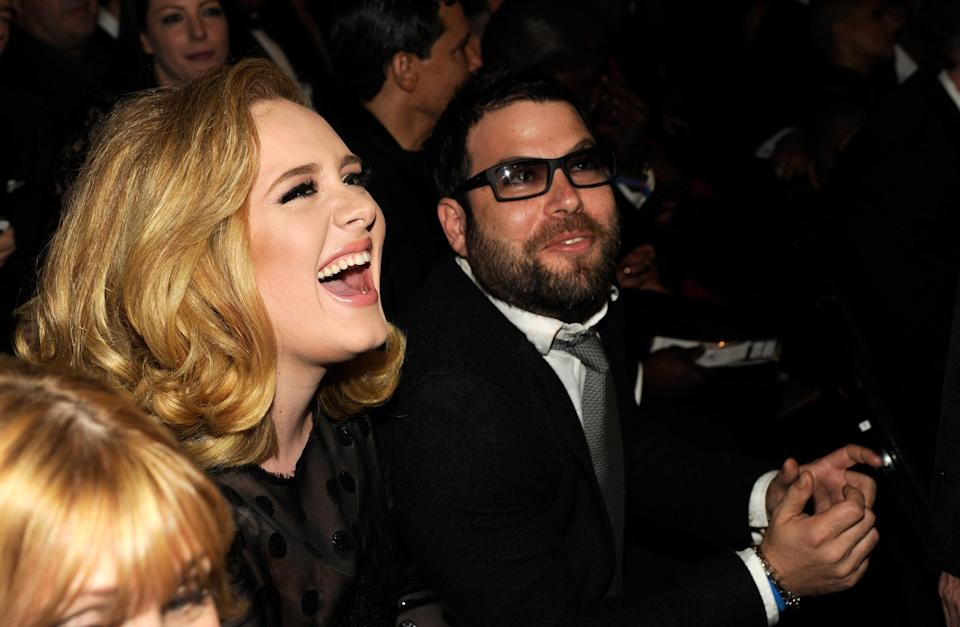 LOS ANGELES, CA – FEBRUARY 12: Adele and Simon Konecki attend The 54th Annual GRAMMY Awards at Staples Center in Los Angeles, California. (Photo by Kevin Mazur/WireImage)