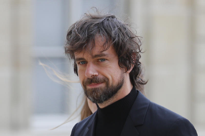 Twitter CEO Jack Dorsey arrives at the Elysee Palace to meet French President Emmanuel Macron Friday, June 7, 2019 in Paris. (AP Photo/Francois Mori)