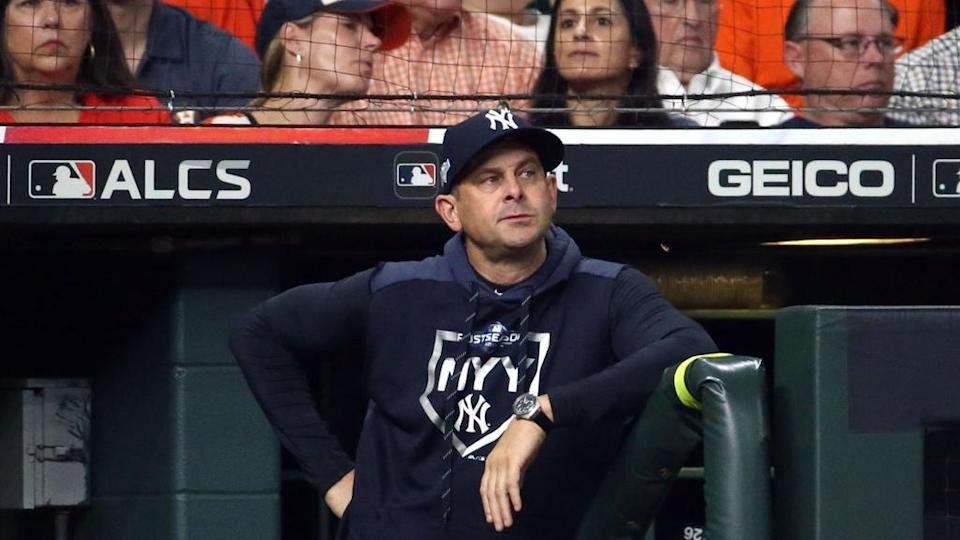 Yankees' Aaron Boone looks on during ALCS game vs. Astros
