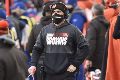 Cleveland Browns head coach Kevin Stefanski looks on during the second half of an NFL football game against the Pittsburgh Steelers, Sunday, Jan. 3, 2021, in Cleveland. (AP Photo/David Richard)